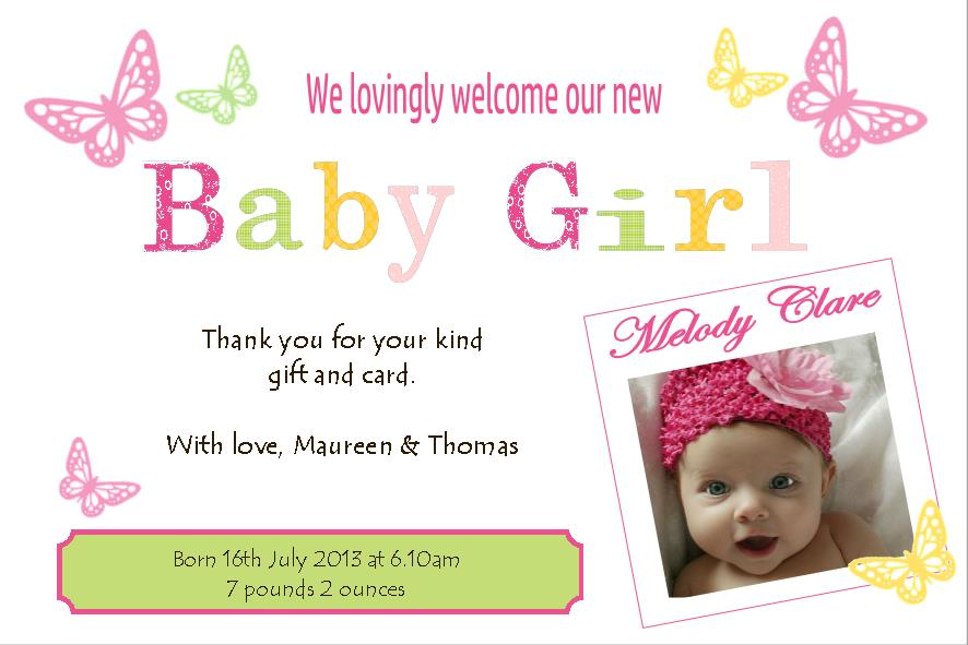 Birth Announcement Thank You Card Girl Design 3 – Birth Announcements and Thank You Cards