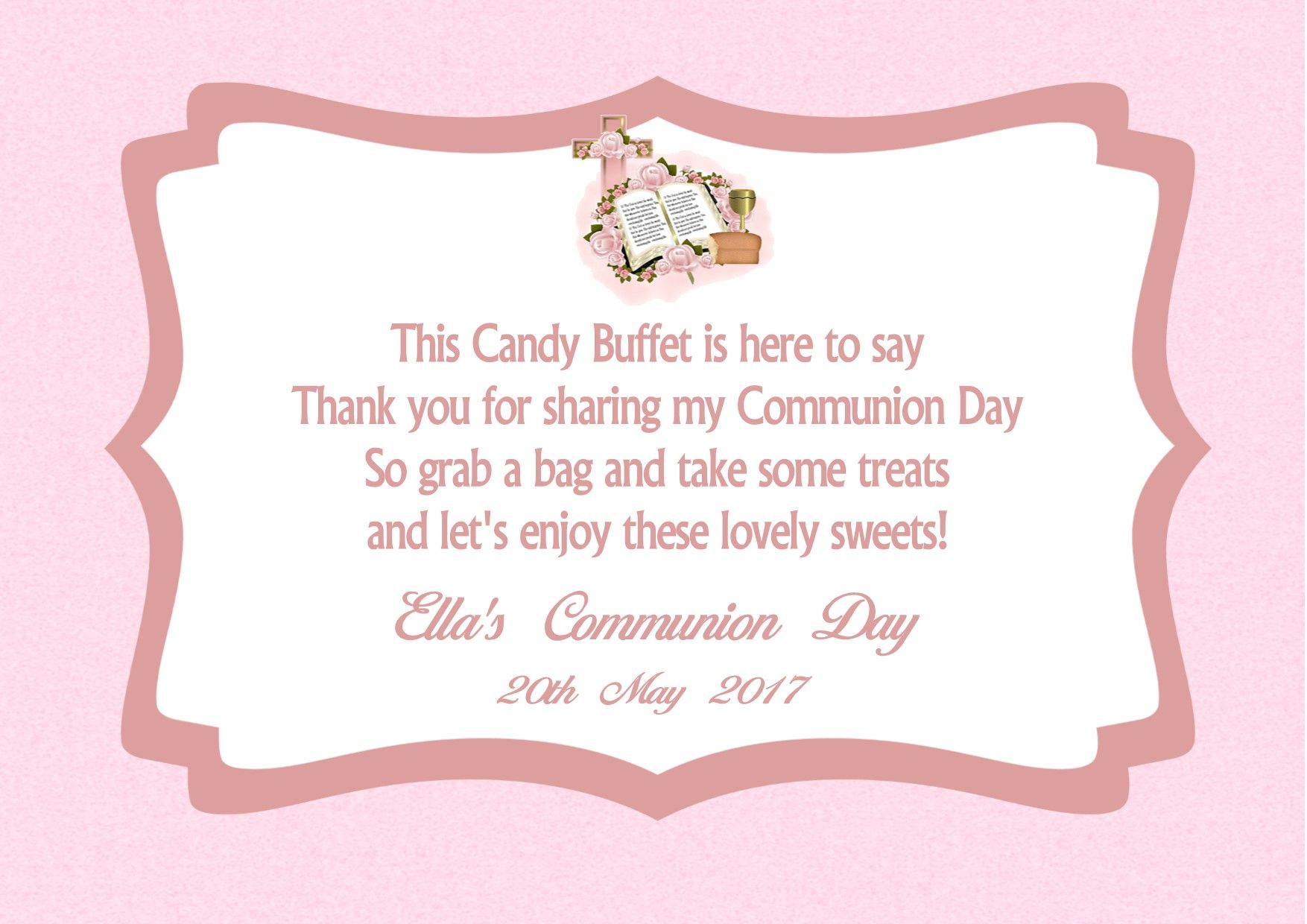 Source Candy Buffet Table Sign Communion Design 1