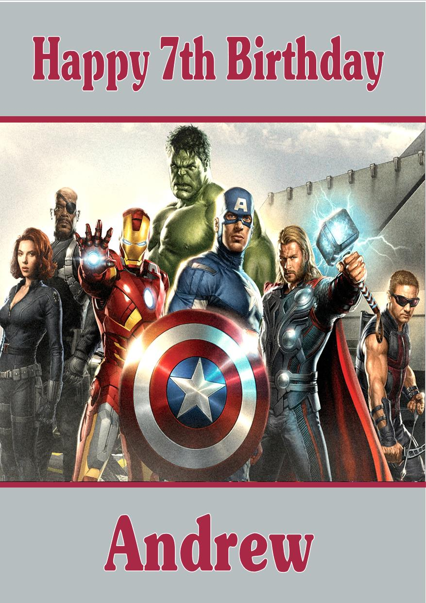 Personalised avengers birthday card design 2 bookmarktalkfo Choice Image