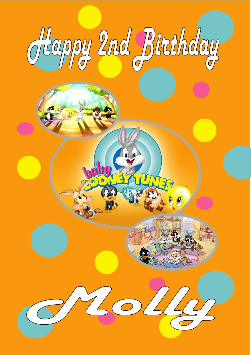 Personalised baby looney tunes birthday card personalised baby looney tunes birthday card design 1 bookmarktalkfo Image collections