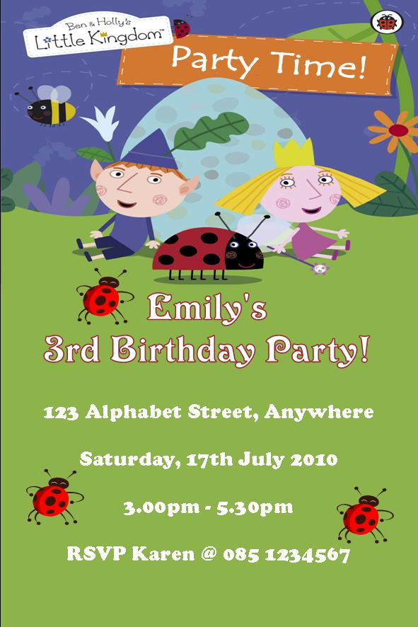 Personalised Ben and Holly Invitations Design 2