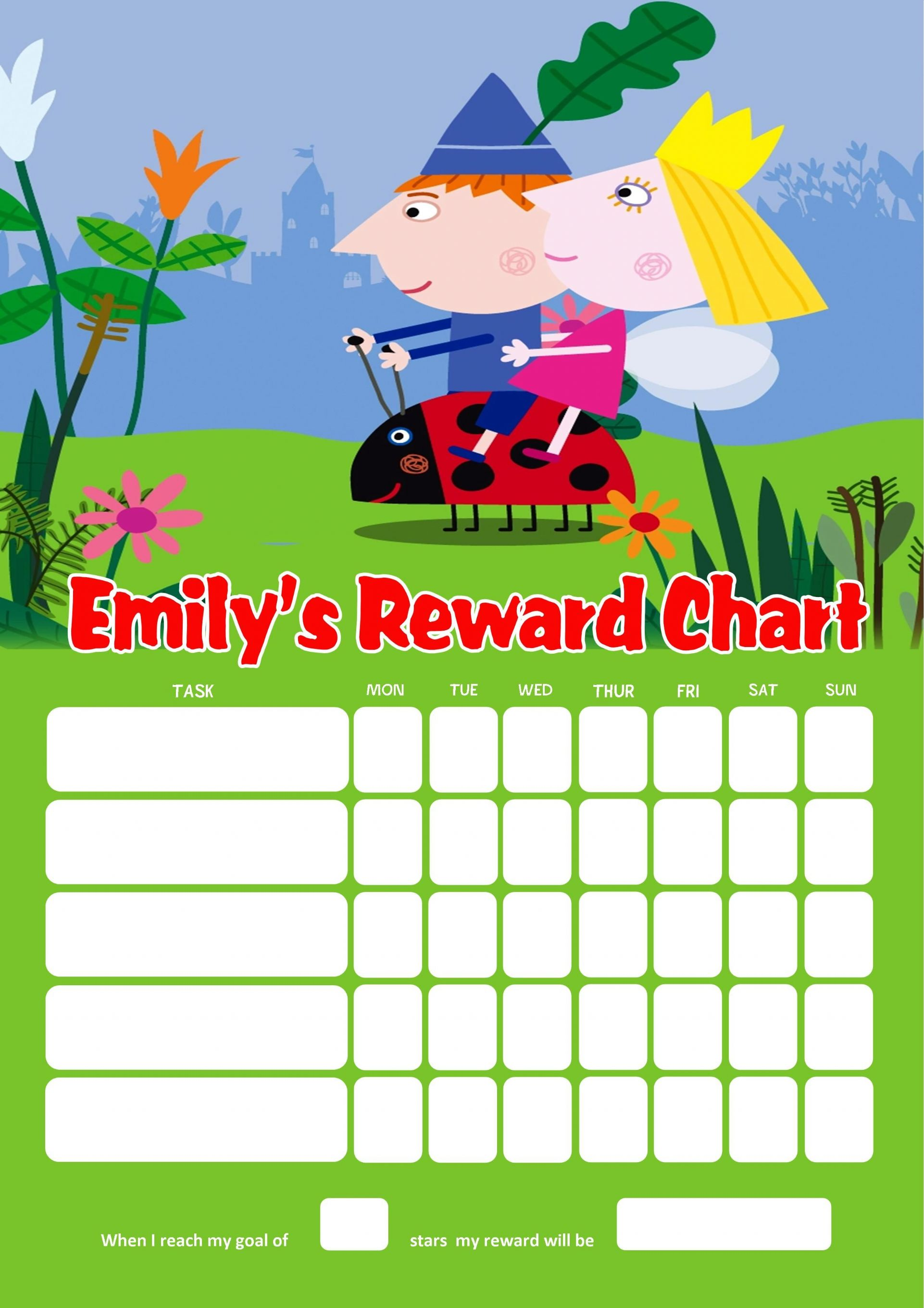 Colouring in reward charts - Personalised Ben And Holly S Little Kingdom Reward Chart Adding Photo Option Available