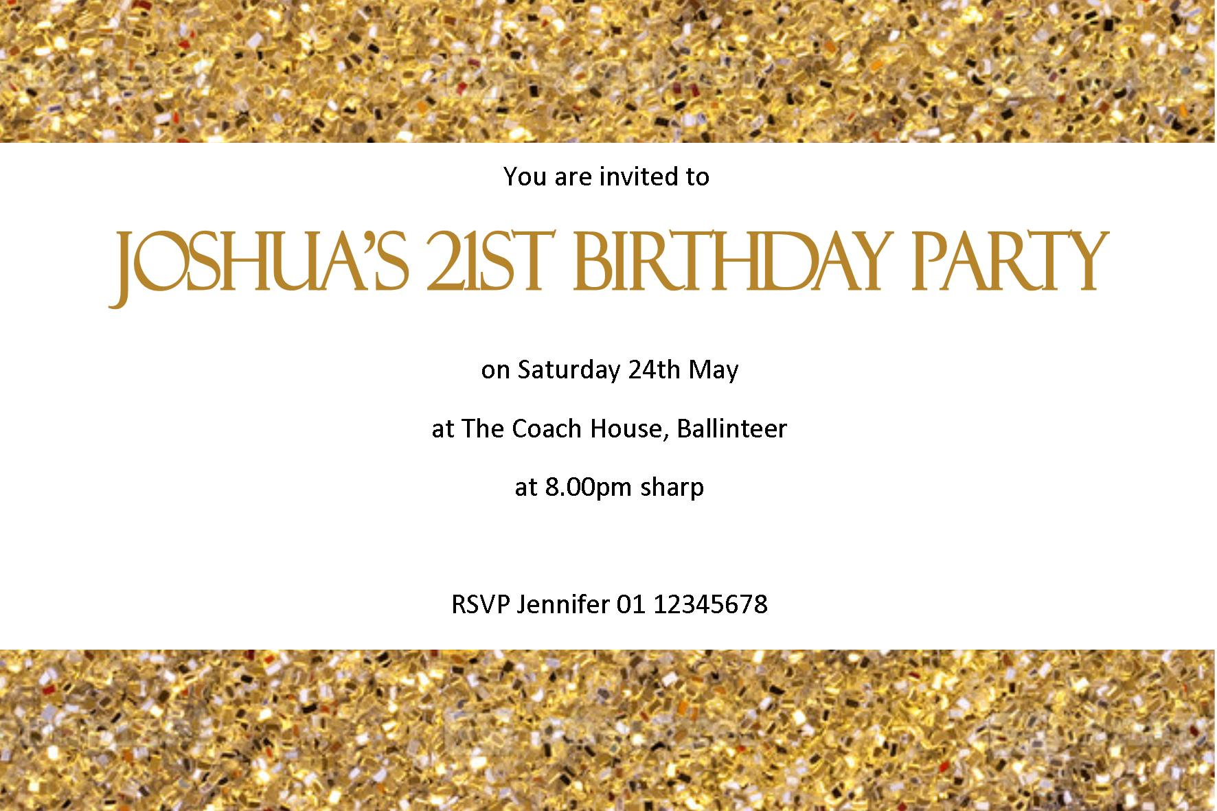 Personalised Birthday Invitation Design 11 – Personalised 21st Birthday Invitations