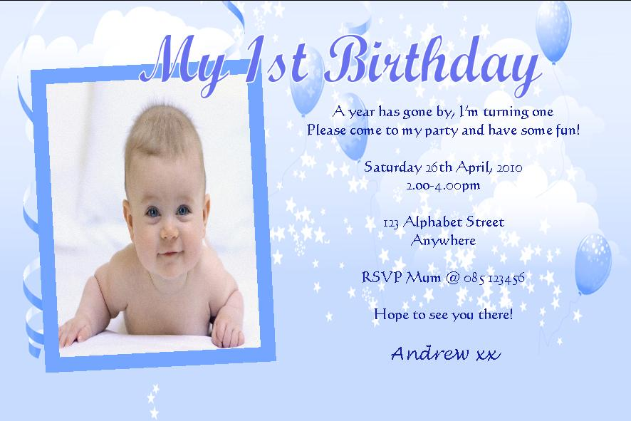 Personalised Birthday Photo Invitations Boy Design - How to write baby birthday invitation