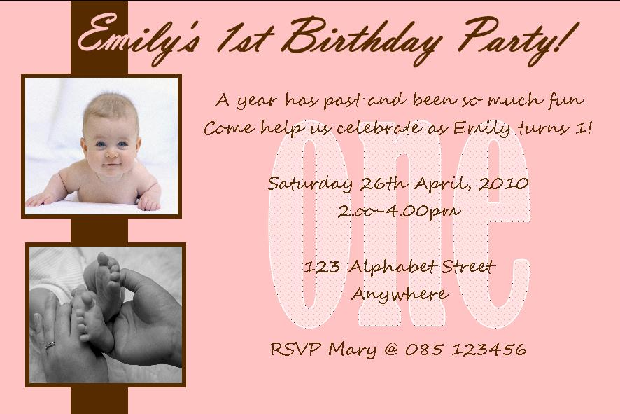 Personalised Birthday Photo Invitations Girl Design - 1st birthday invitation indian card