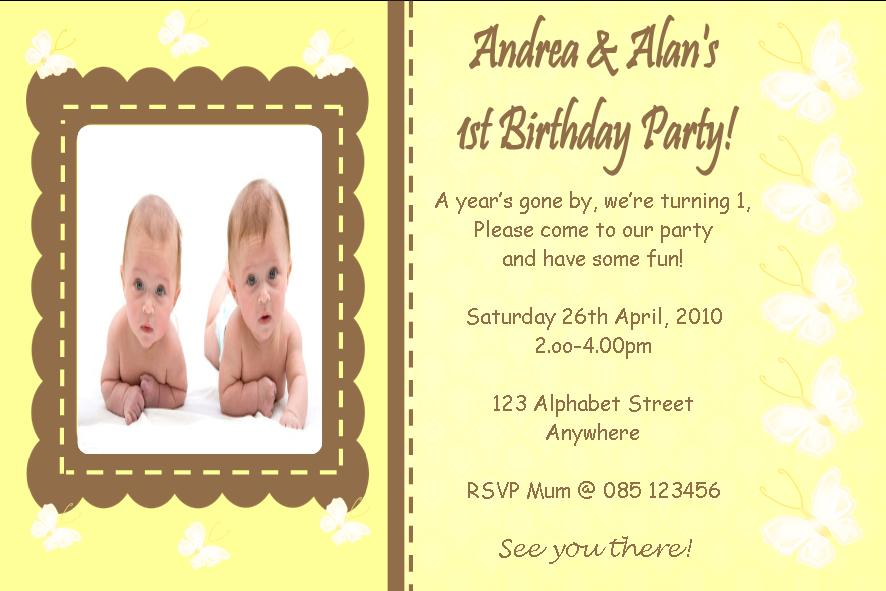 Personalised Birthday Photo Invitations Twins Design 3 – Twin 1st Birthday Invitations
