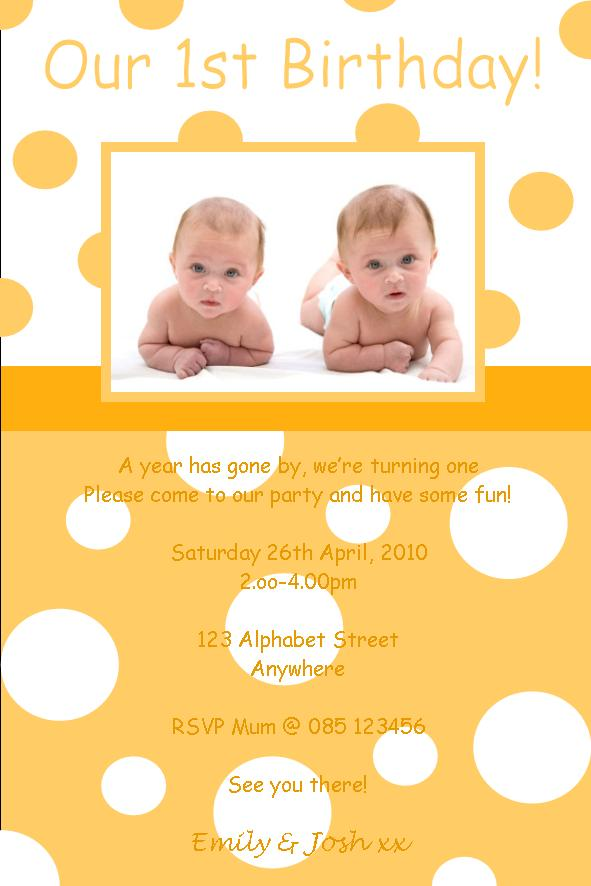 Personalised Birthday Photo Invitations Twins Design 5 – Twin 1st Birthday Invitations