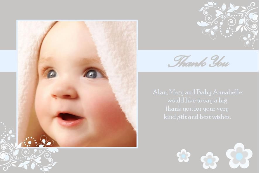Personalised Boy Christening Thank You Cards Design 5
