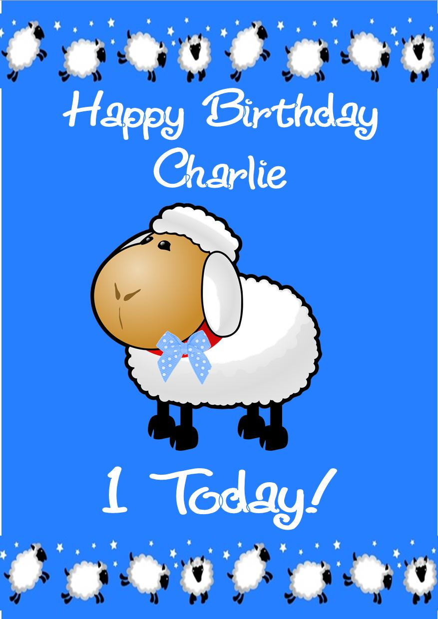 Personalised Boy Cute Sheep Birthday Card – Birthday Card for Boy