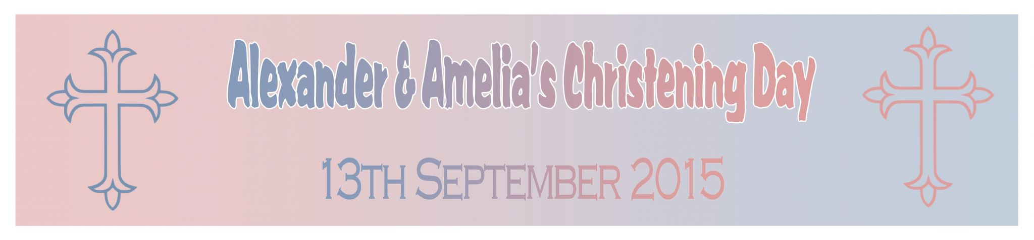 Personalised Boy Girl Twins Christening Banner
