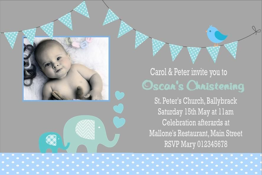 Personalised Boy Photo Christening Invitations Design 9