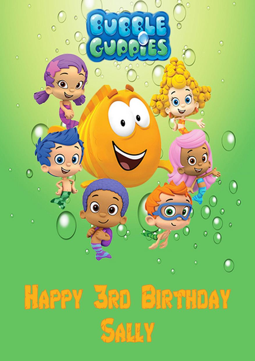 Bubble guppies cupcake toppers banner stickers bag toppers thank quotes - Bubble guppies birthday banner template ...