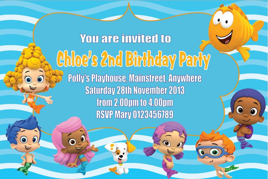 personalised bubble guppies invitations, Birthday invitations