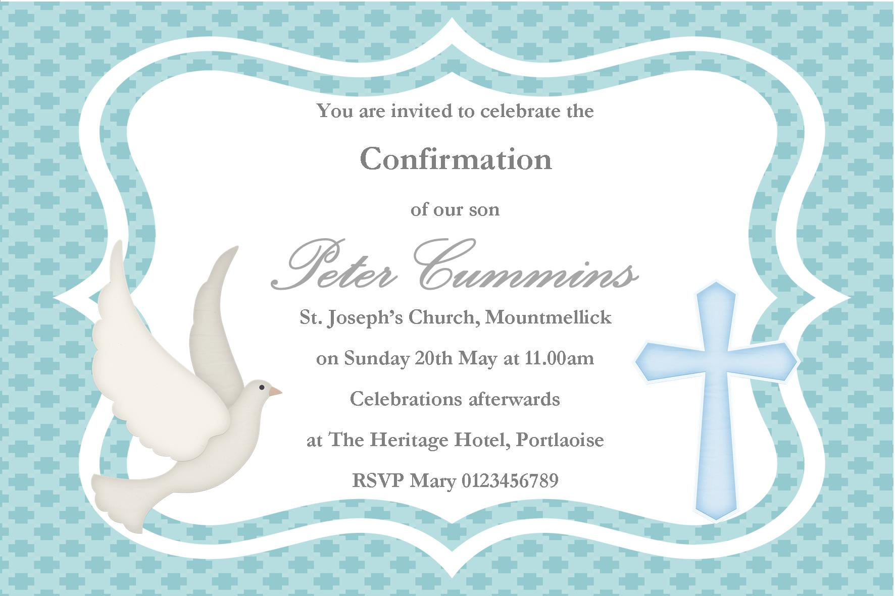 Personalised Confirmation Invitations Son Design 2 – Confirmation Party Invitations
