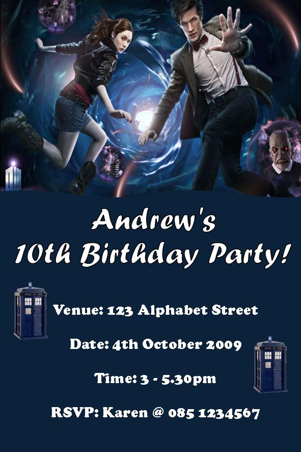 Personalised Doctor Who Invitations – Doctor Who Party Invitations