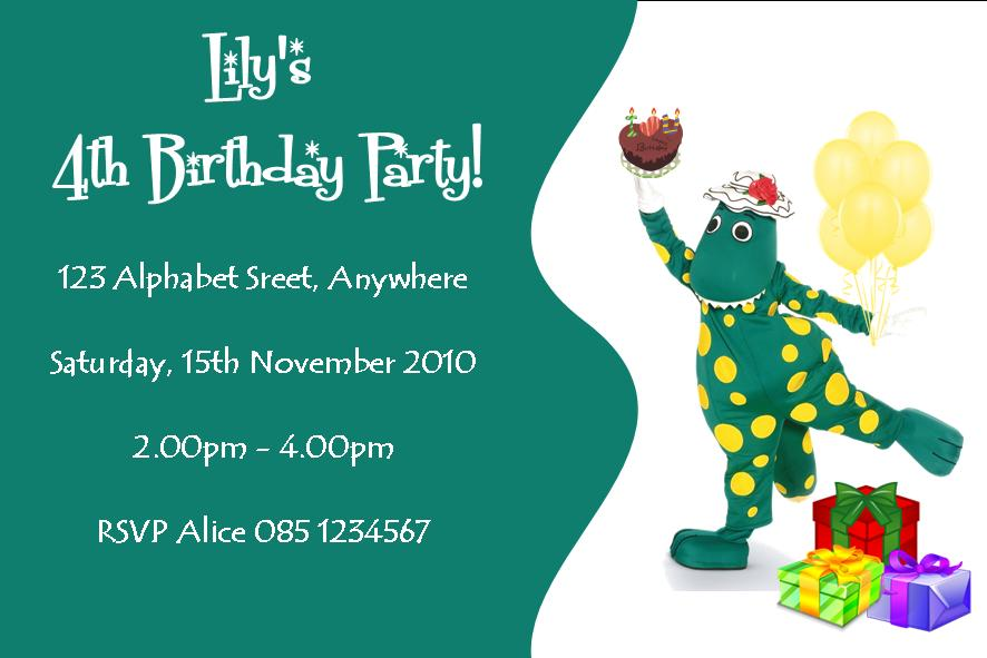Personalised Dorothy the Dinosaur Invitations Design 1