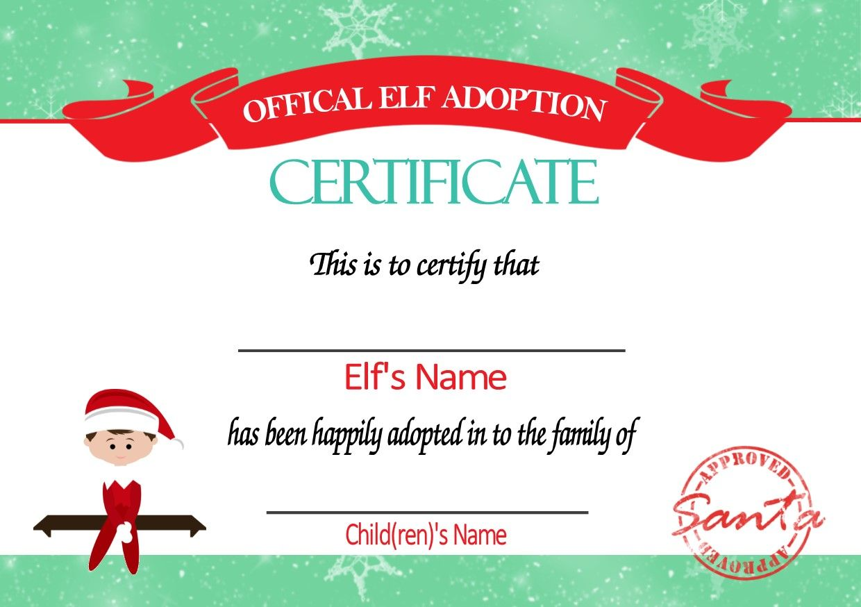 Bedroom Door Signs Personalised Elf On The Shelf Adoption Certificate