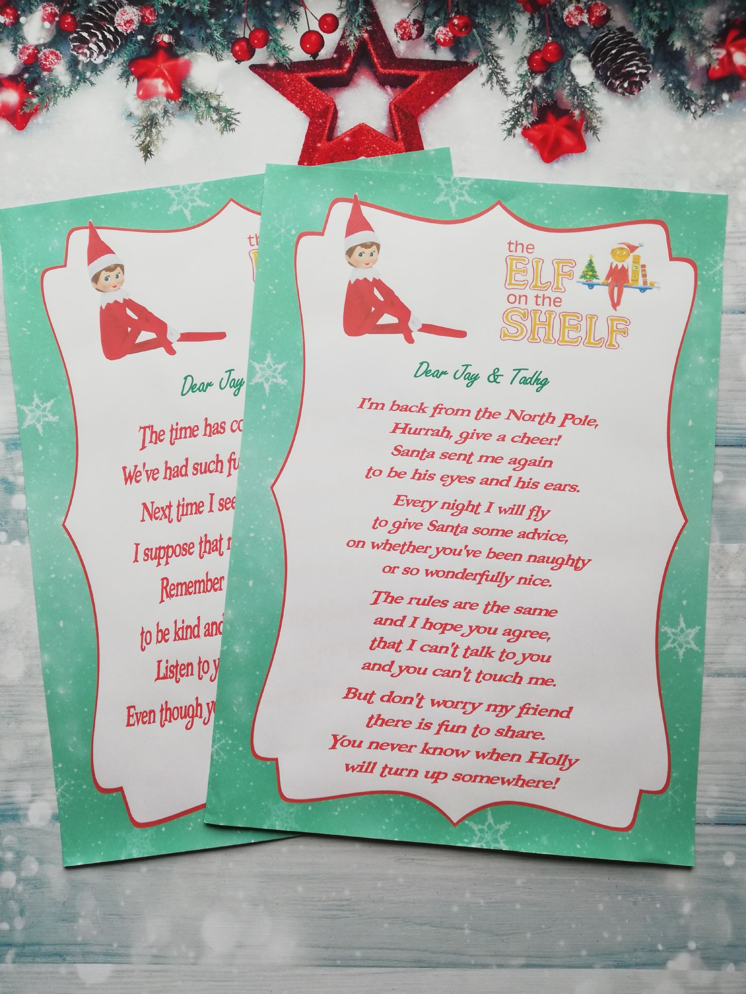 Personalised Elf on the Shelf Hello Goodbye Letters Returning Elf