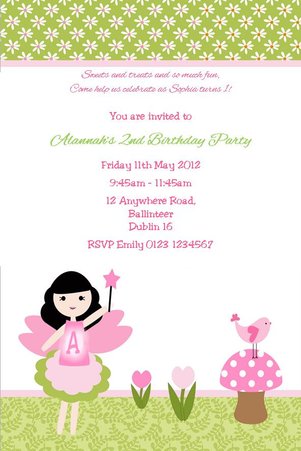 Personalised Fairy and Toadstool Invitations