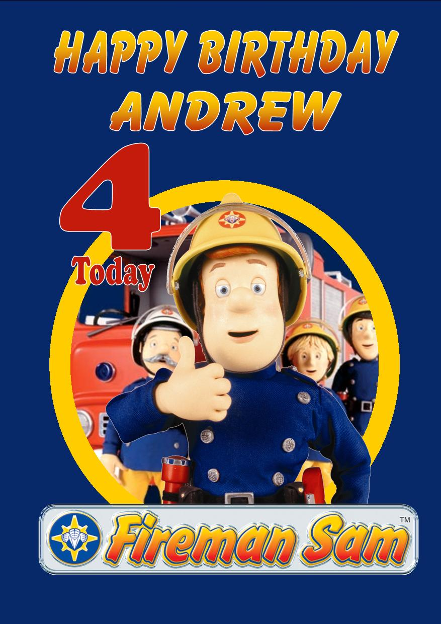 Personalised Fireman Sam Birthday Card Design 1 – Fireman Sam Birthday Cards