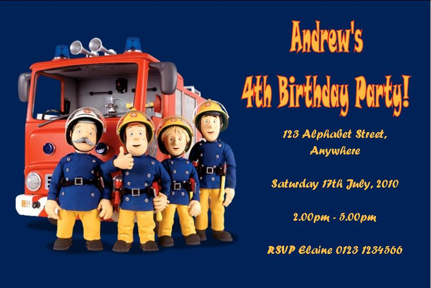 Personalised Fireman Sam Invitations – Fireman Sam Birthday Cards