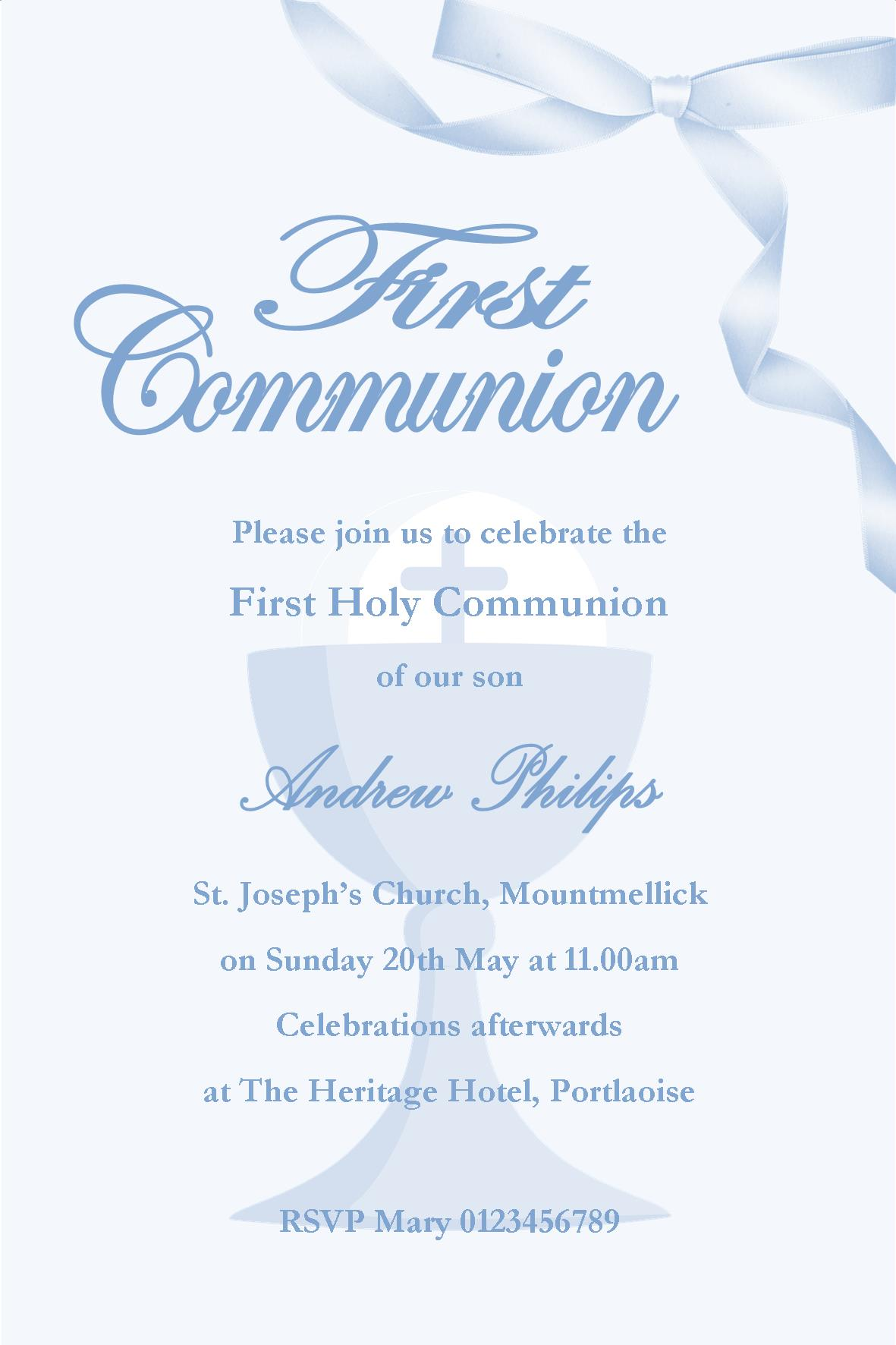 Personalised First Communion Invitations Boy New Design 1