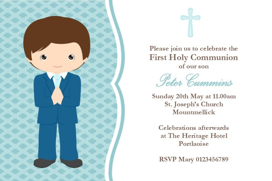 personalised first communion invitations boy new design 2