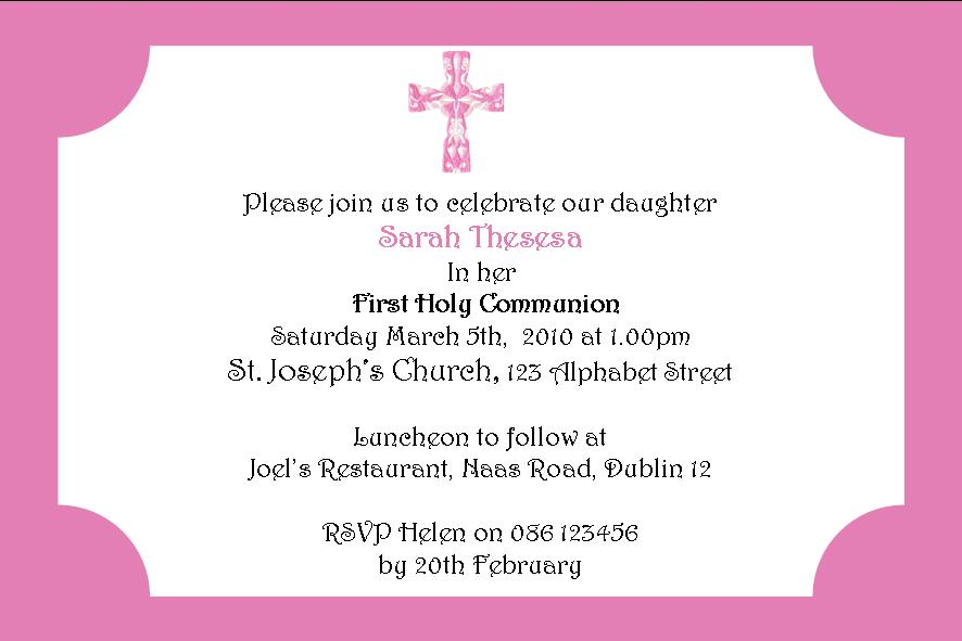 Personalised Pink Cross Daughter Communion Invitations