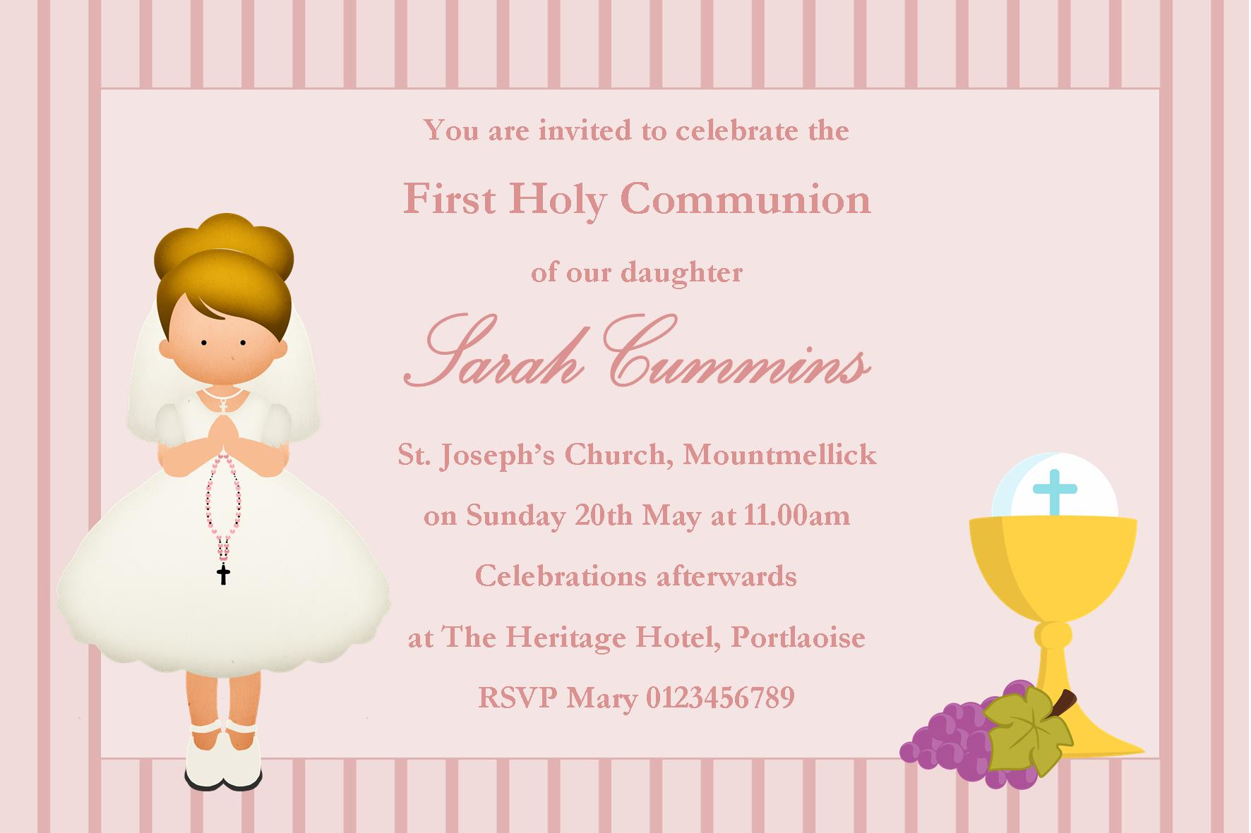 Personalised First Communion Invitations Girl New Design 10