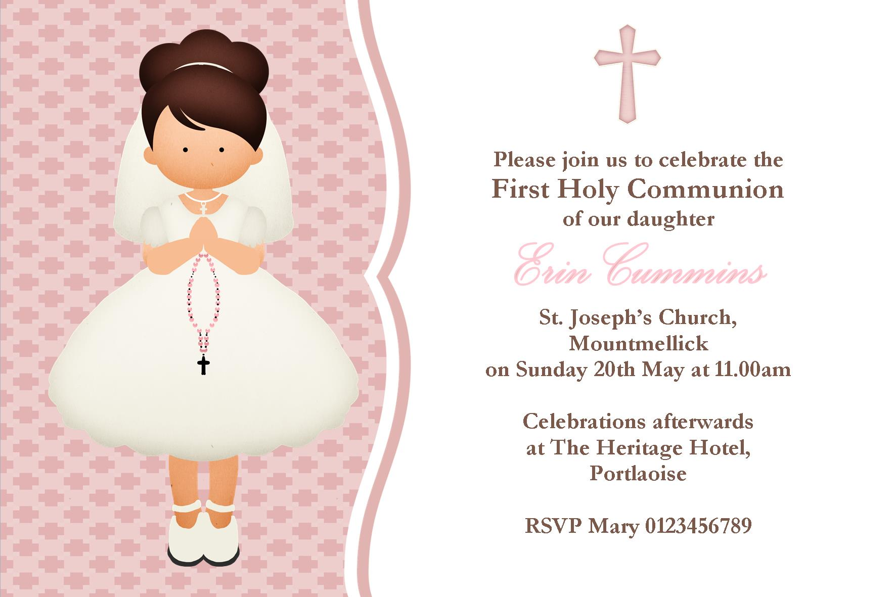 Personalised first communion invitations girl new design 3 kristyandbryce Image collections