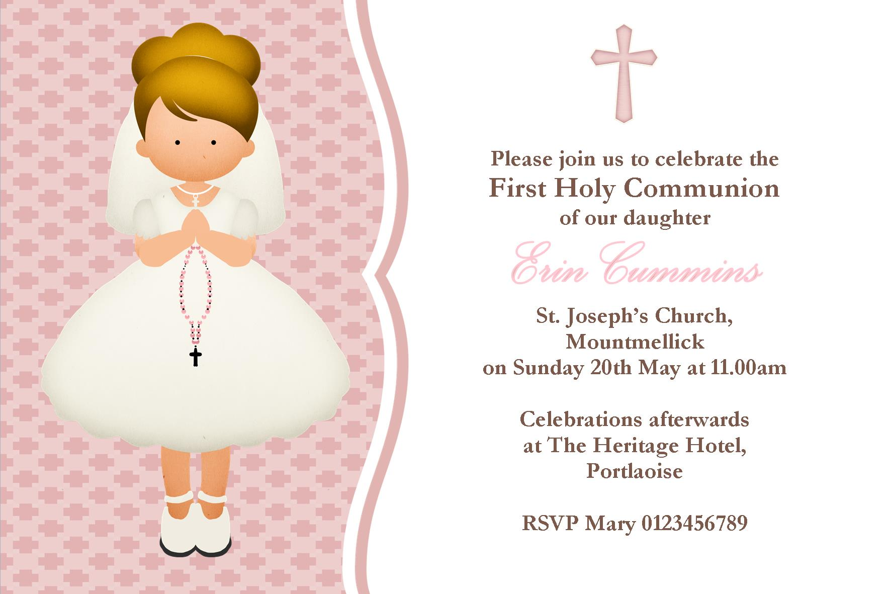 Personalised First Communion Invitations Girl New Design 4 – First Communion Invitation Cards