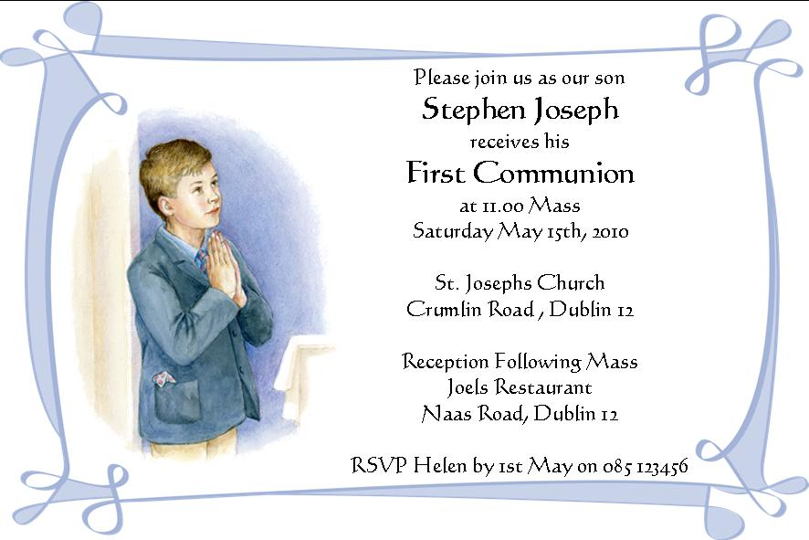 Personalised First Communion Invitations Son Design 3 – First Communion Invitation Cards