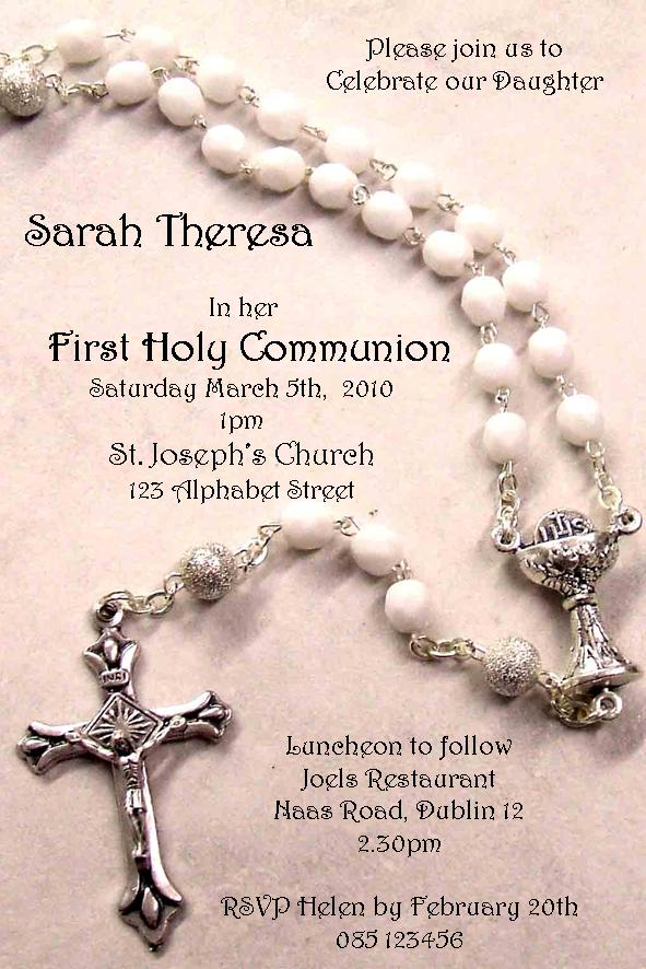 Personalised First Communion Rosary Beads Invitations
