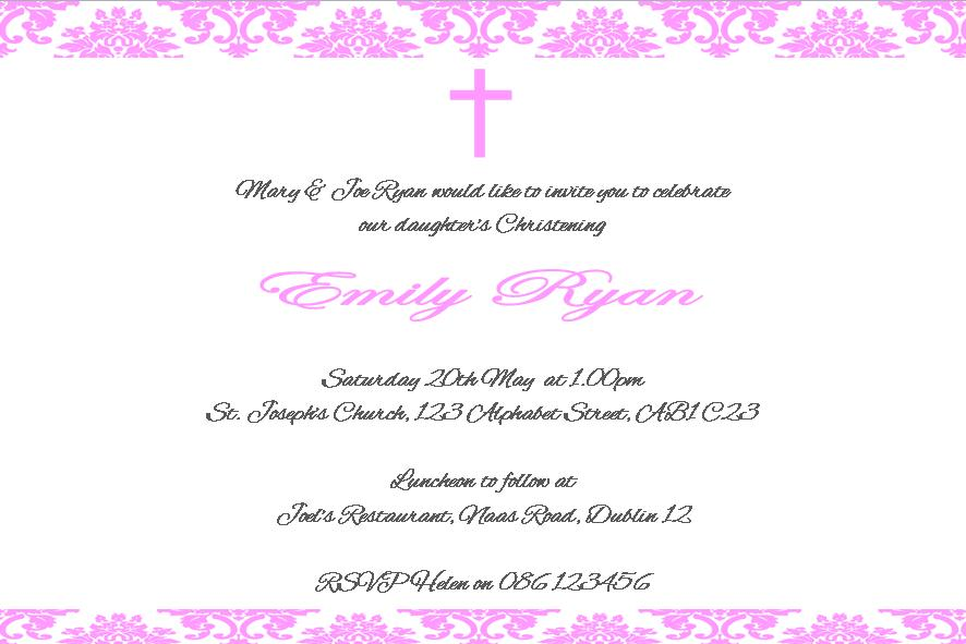 Printable Christening Invitation Description | Male Models ...