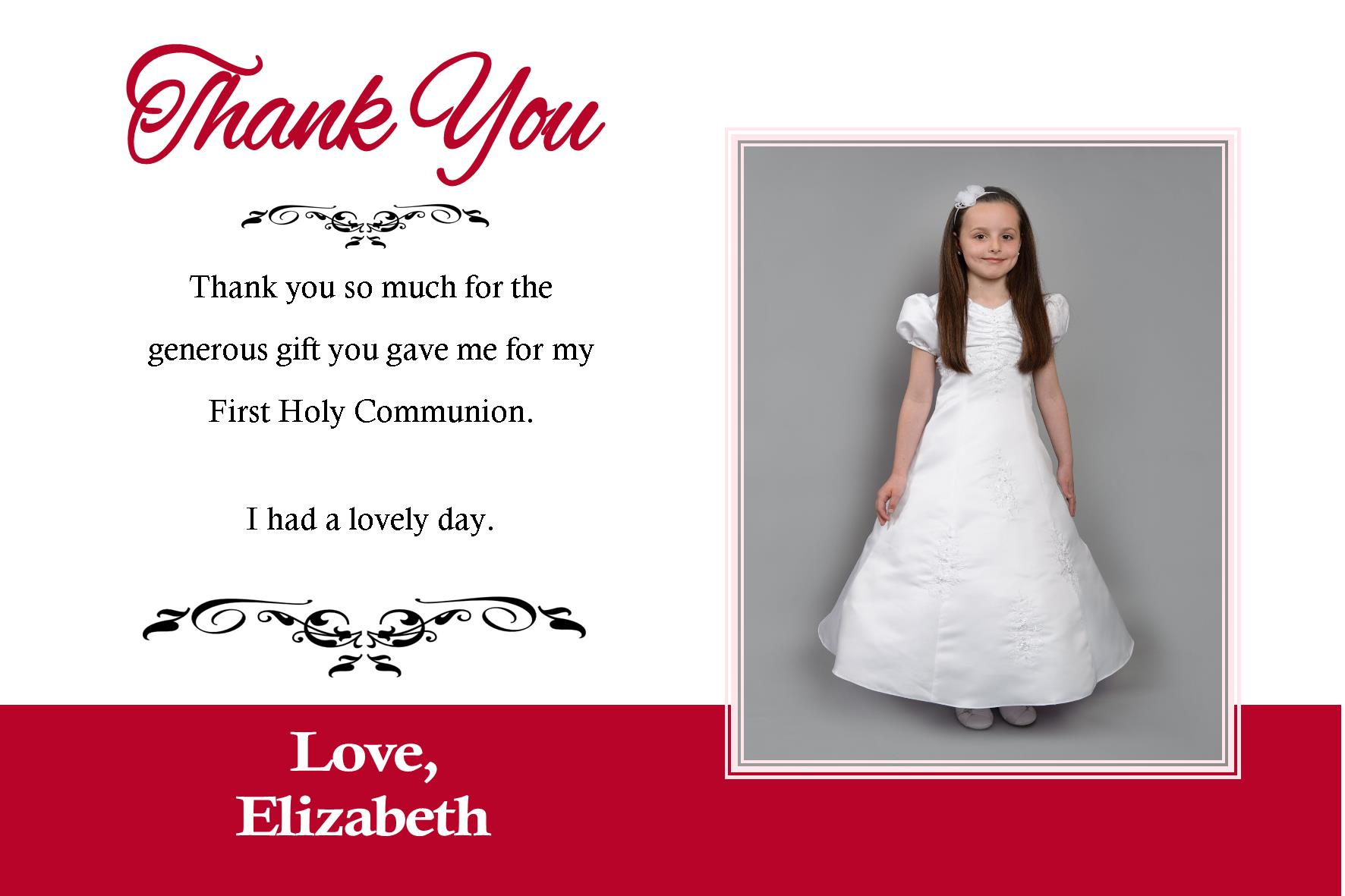 Personalised Girl Communion OR Confirmation Photo Thank You Card – Personalised Thank You Cards Wedding