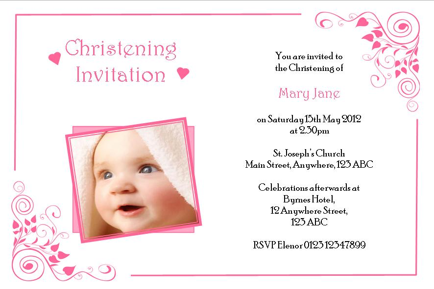 Christening invitations girl insrenterprises personalised girl photo christening invitations design 3 stopboris