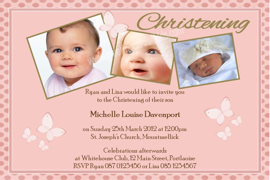 Personalised Girl Photo Christening Invitations Design 5