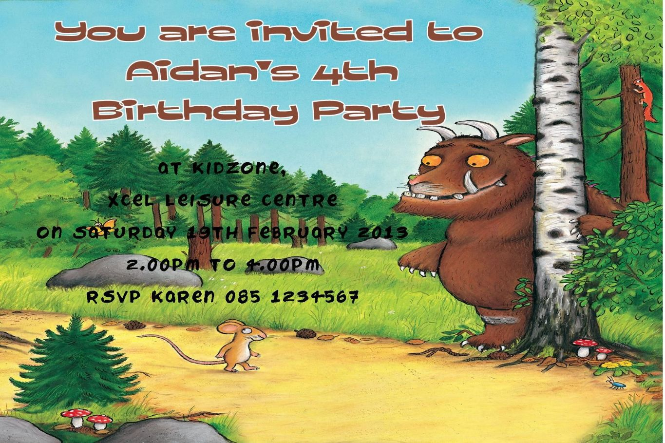 Personalised Gruffalo Invitations