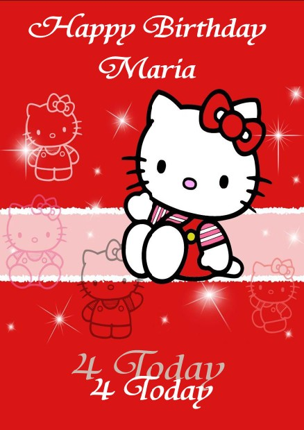 Personalised Hello Kitty Birthday Card Design 2 – Personalised Kids Birthday Cards