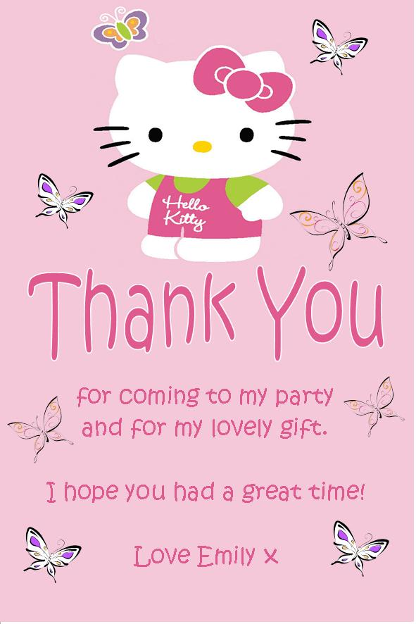 Personalised Hello Kitty Thank You Cards Design 2 – Personalised 1st Birthday Thank You Cards
