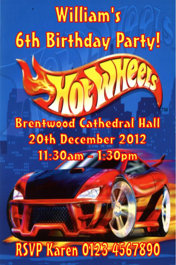 Personalised Hot Wheels Invitations
