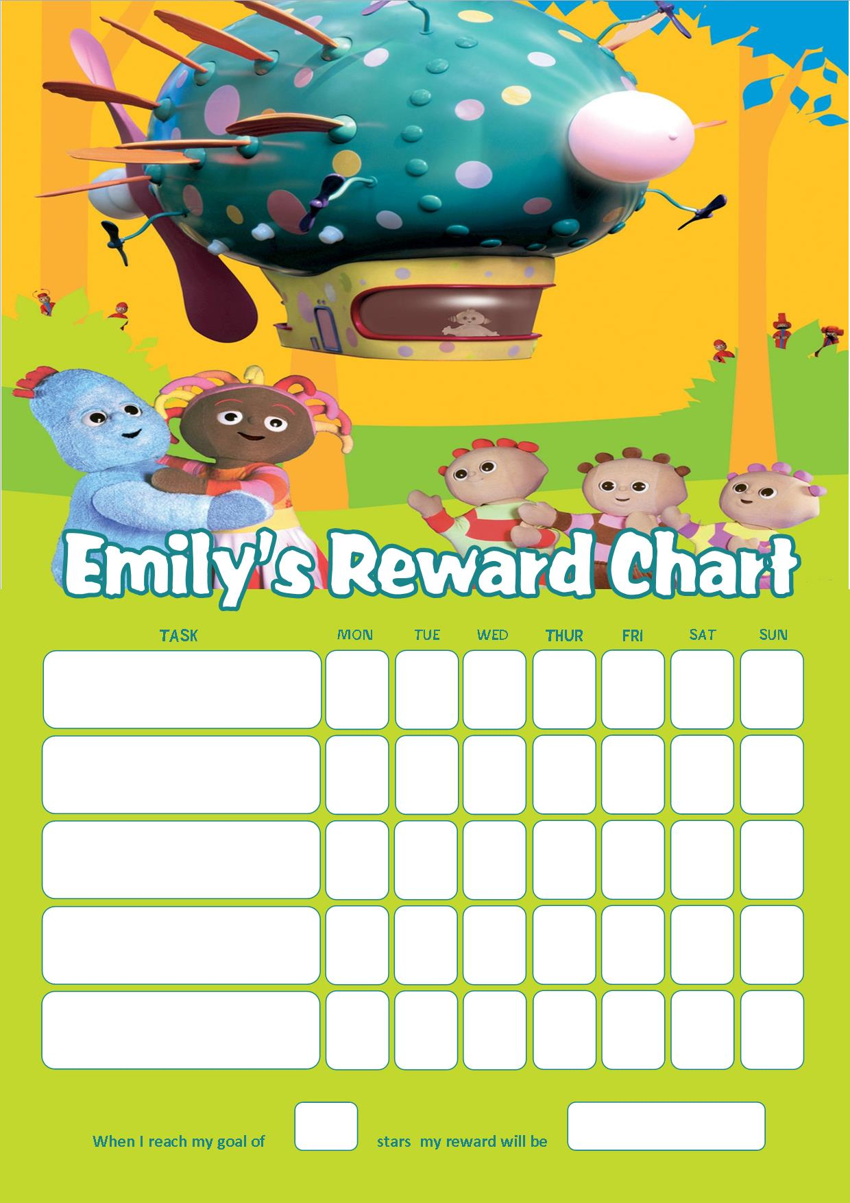 Personalised In The Night Garden Reward Chart Adding Photo
