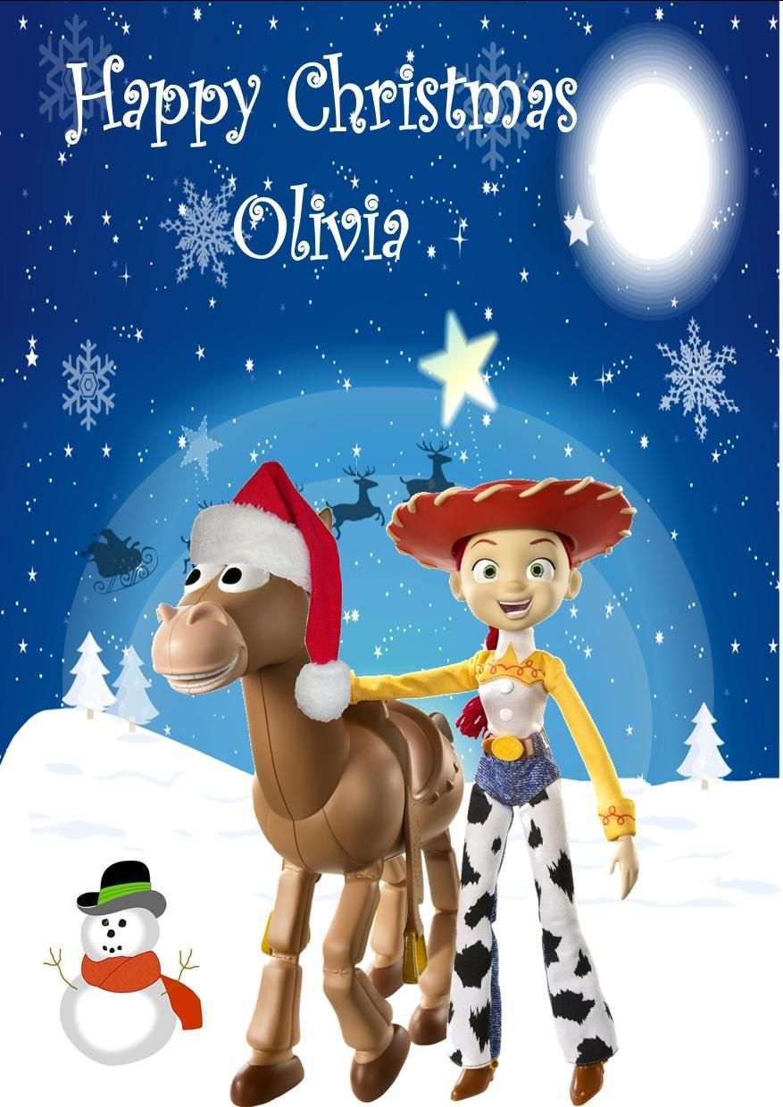 Toy Story Christmas : Personalised jessie and bullseye toy story christmas card