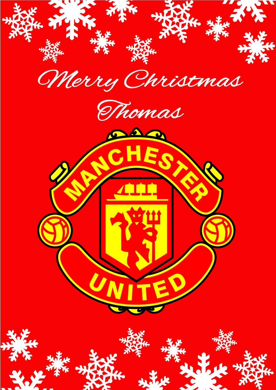 Personalised manchester united fc christmas card voltagebd Images
