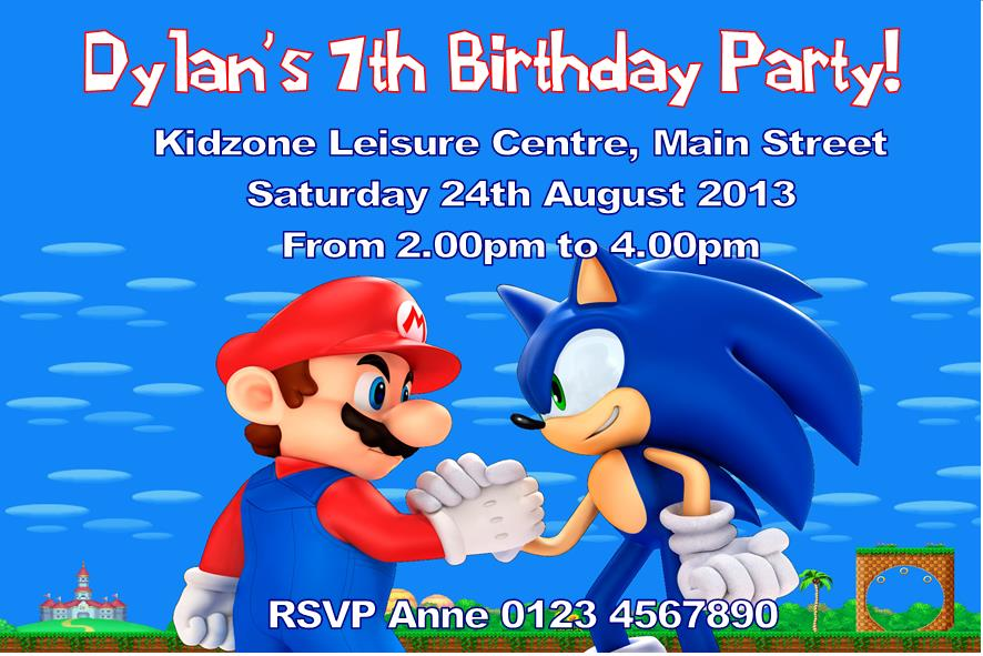 Personalised Mario and Sonic Invitations