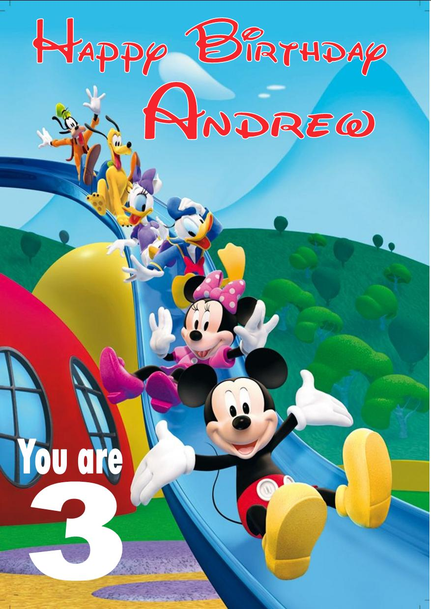 Personalised Mickey Mouse Clubhouse Birthday Card – Personalised Kids Birthday Cards