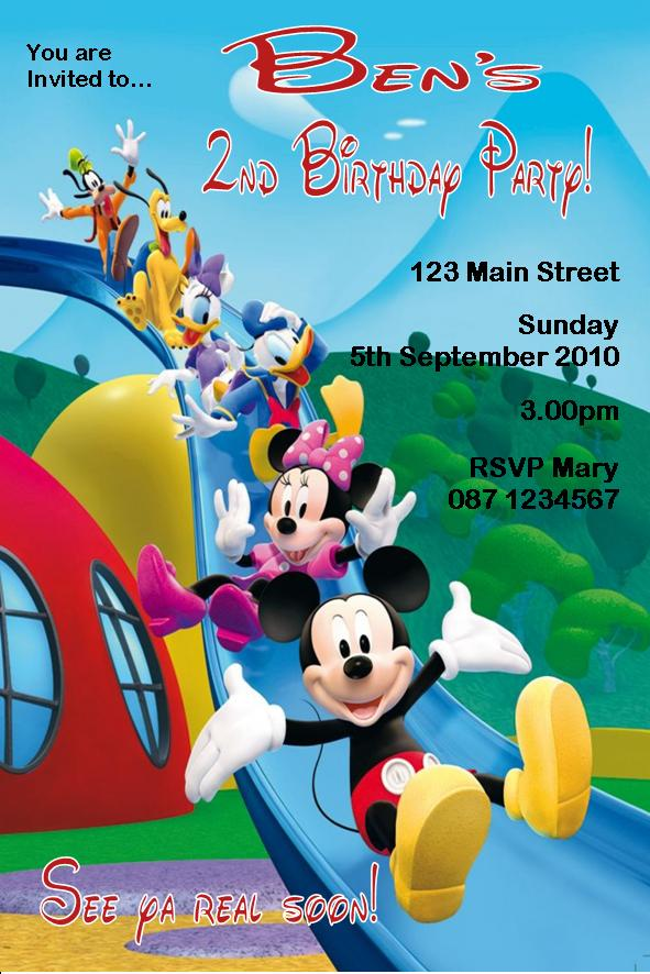 Personalised Mickey Mouse Clubhouse Invitations