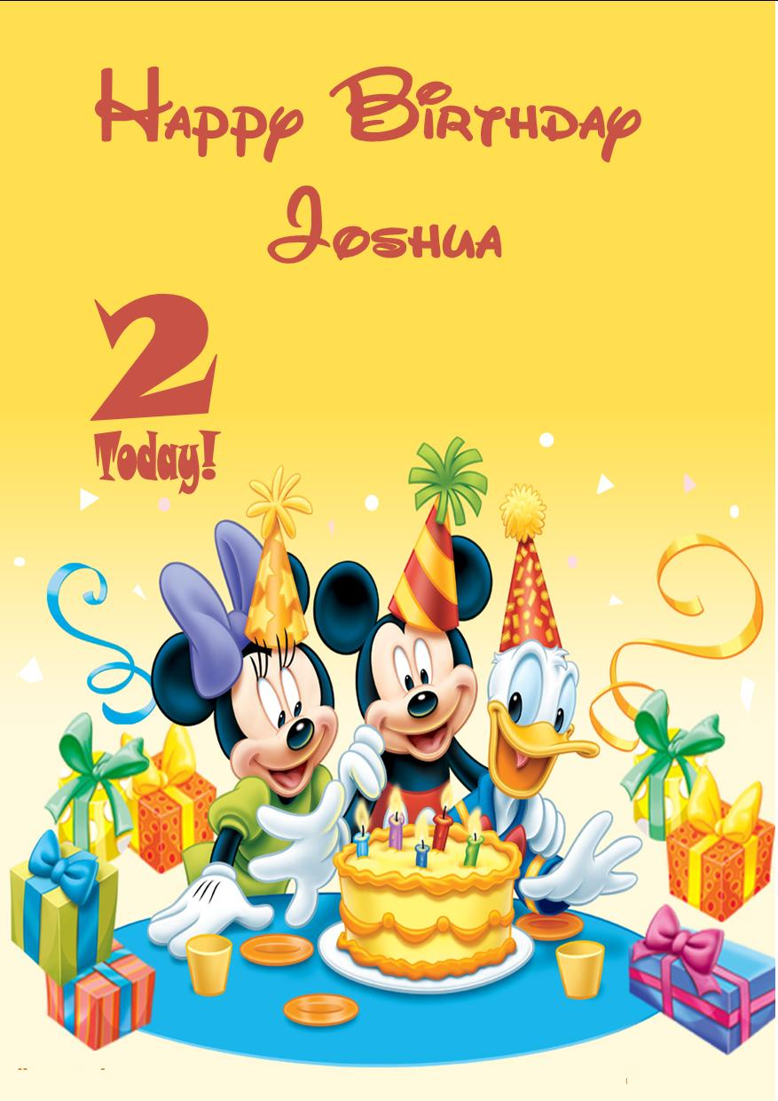 Personalised Mickey Mouse Minnie Mouse Donald Duck Birthday Card