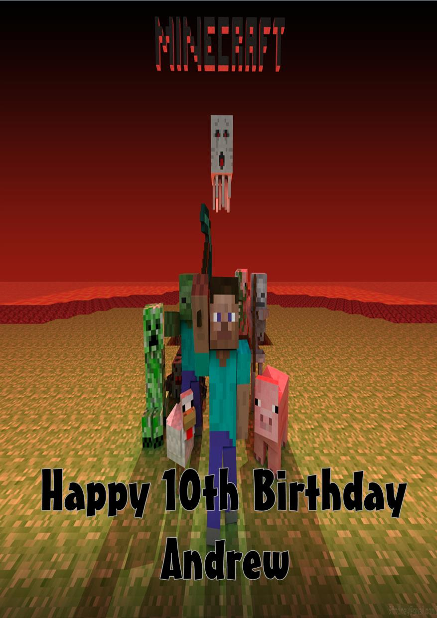 Personalised minecraft birthday card bookmarktalkfo Image collections