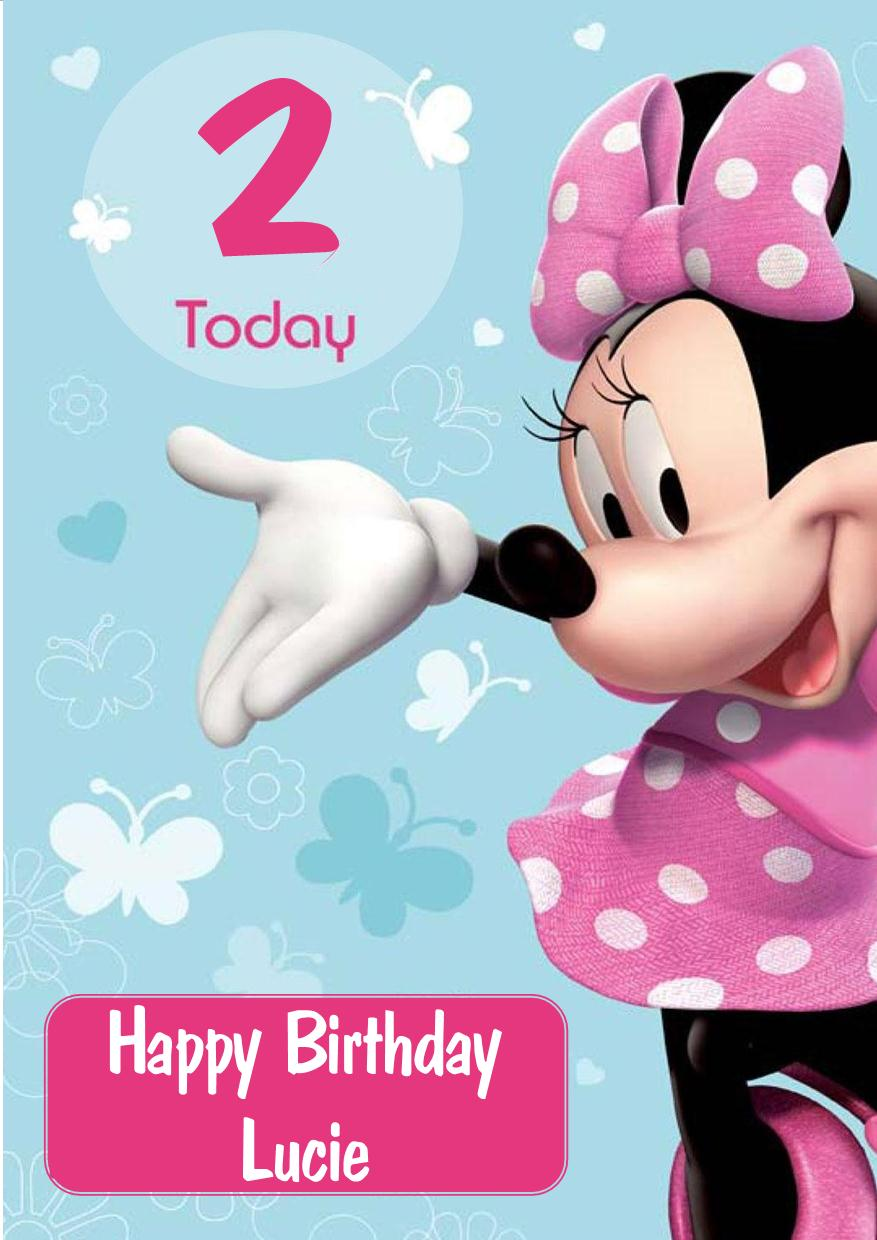 Personalised Minnie Mouse Birthday Card Design 2 – Personalised Kids Birthday Cards